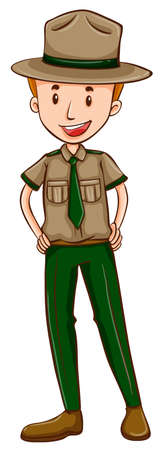 man standing alone: Park ranger in brown uniform illustration