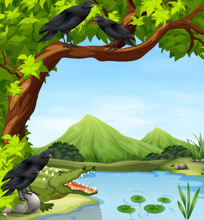 Crows and crocodile by the river illustration