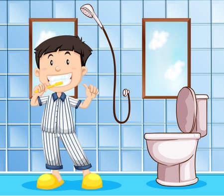 Boy Taking A Bath In Bathroom Illustration Royalty Free Cliparts ...