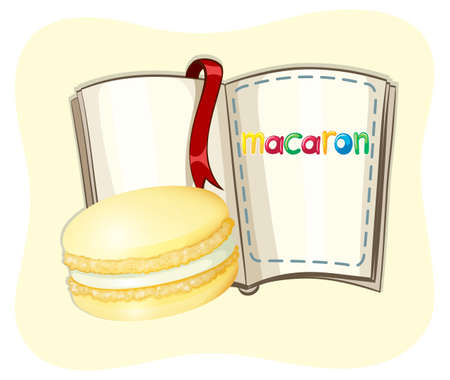 macaron: Yellow macaron and a book illustration Illustration