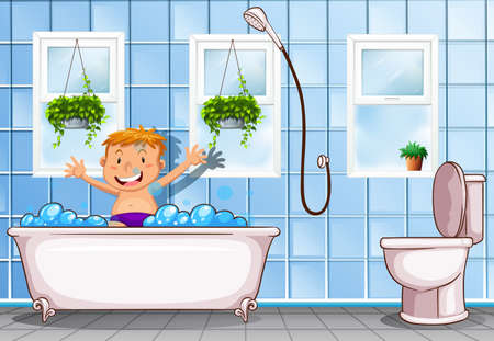 Boy taking a bath in bathroom illustration Illustration