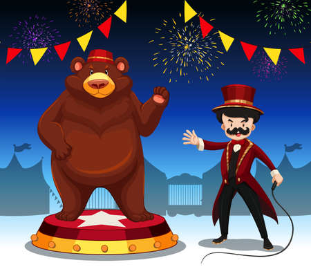 amusement park rides: Ring master and bear at circus show illustration Illustration