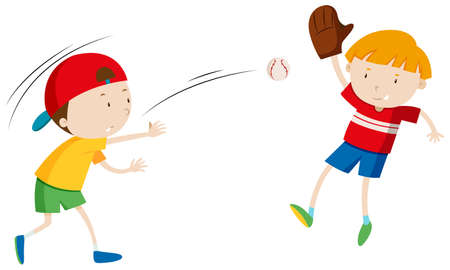 throwing: Two boys throwing and catching ball illustration