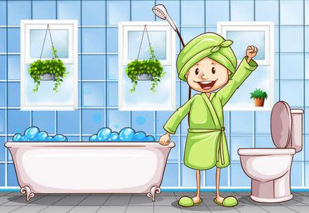 washing windows: woman in the bathroom illustration Illustration