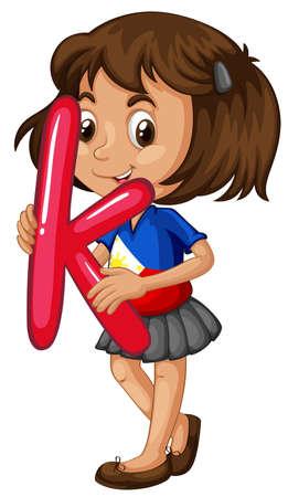 english girl: Little girl holding letter K illustration