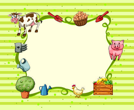 borders plants: Border design with farm animals and things illustration