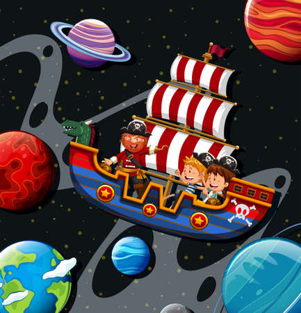 small boat: Children riding on viking with pirate illustration Illustration