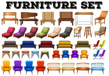 furniture: Different design of modern furniture illustration