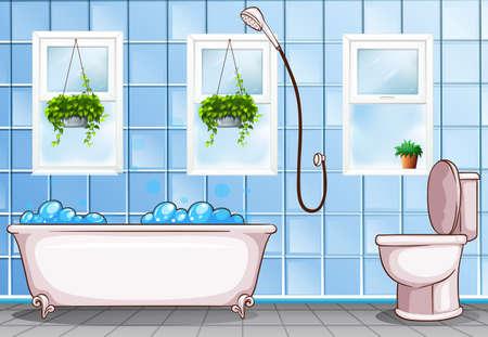 Badkamer met bad en toiletillustratie Stock Illustratie
