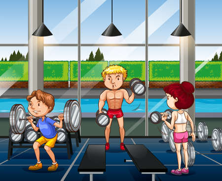 man working out: People working out in the gym illustration