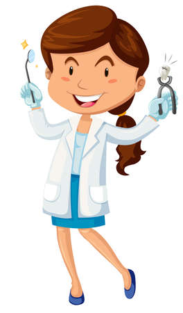 dentist cartoon: Female dentist with equipment illustration