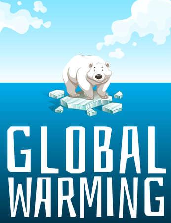 Opwarming van de aarde thema met ijsbeer illustratie