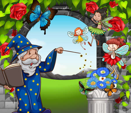 butterfly myth: Wizard and fairies flying in garden illustration