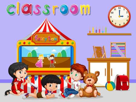 niÑos en el colegio: Niños que ven títere en la ilustración aula Vectores