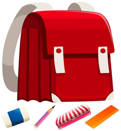 schoolbag: Schoolbag and other stationaries illustration