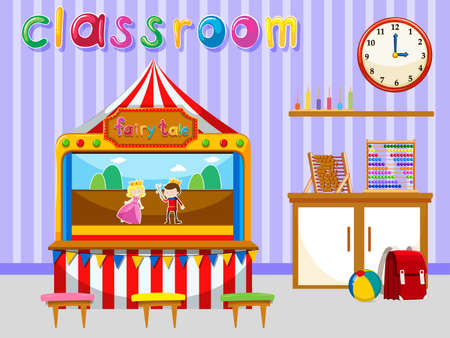 role play: Classroom for kindergarten students illustration