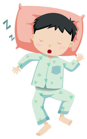 young: Little boy in pajamas sleeping illustration