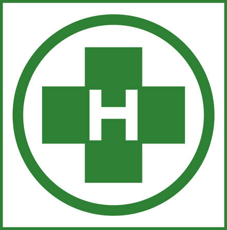 Helipad in green color illustration