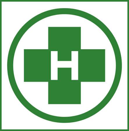 helipad: Helipad in green color illustration Illustration