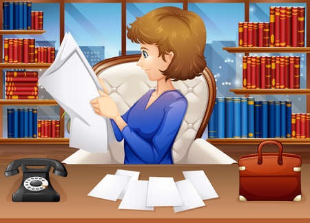 woman reading book: Businesswoman reading papers in office illustration