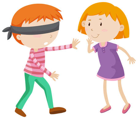 hide and seek: Boy being blind folded illustration Illustration