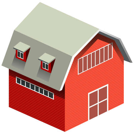 windows home: Red barn with gray roof illustration