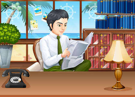 man at the phone: Businessman reading newspapers in the office illustration Illustration