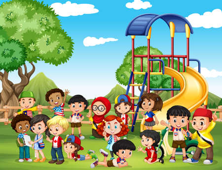 children art: Children playing in the park illustration
