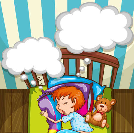 young boy smiling: Boy sleeping in bed illustration