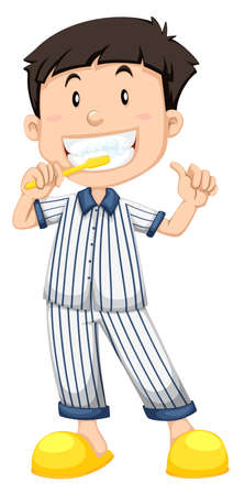 teeth cleaning: Boy in striped pajamas brushing teeth illustration Illustration