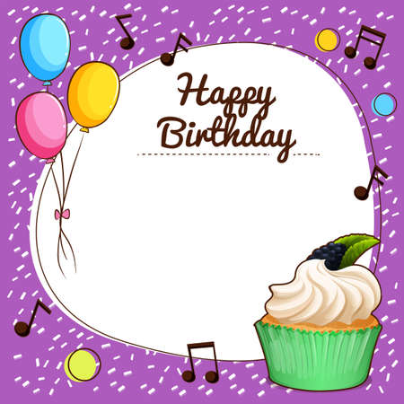 music notes: Birthday theme with cupcake illustration