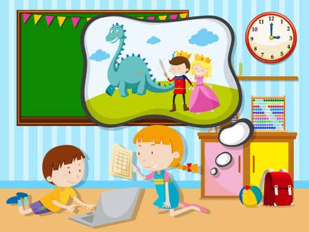 kids background: Boy and girl working in the classroom illustration Illustration
