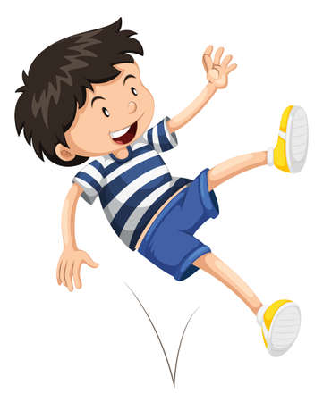 smile close up: Little boy bouncing up and down illustration