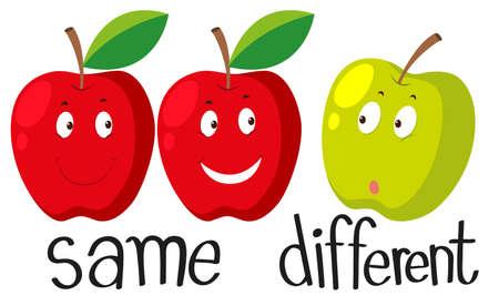 manzana roja: Adjetivos opuestos con igual y diferente ilustración