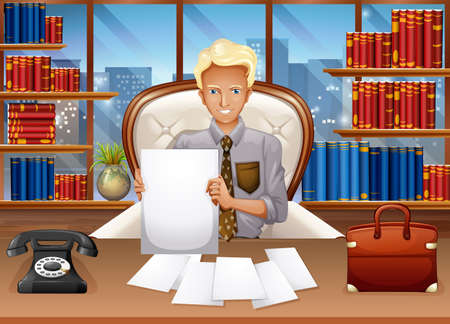 sorting: Businessman sorting out files illustration