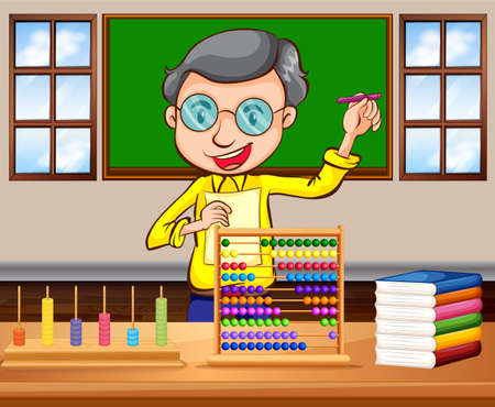 cartoon human: Math teacher in the classroom illustration