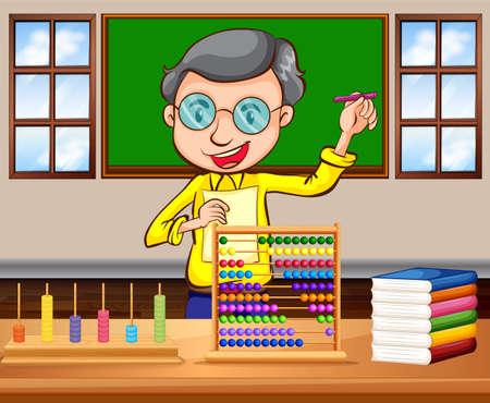 matematica: profesor de matemáticas en el aula de la ilustración Vectores