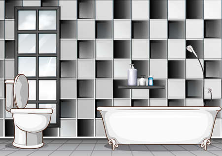 white bathroom: Bathroom with black and white tiles illustration