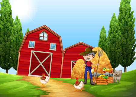 working people: Farmer working in the farm outside illustration Illustration