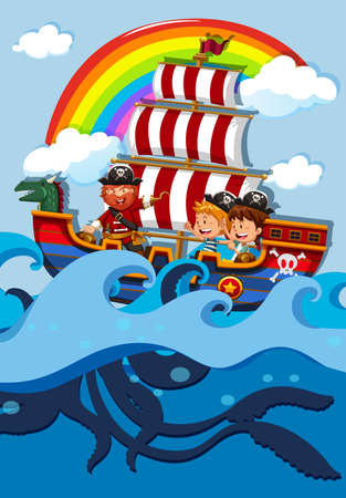 Children on boat with pirate illustration Illustration