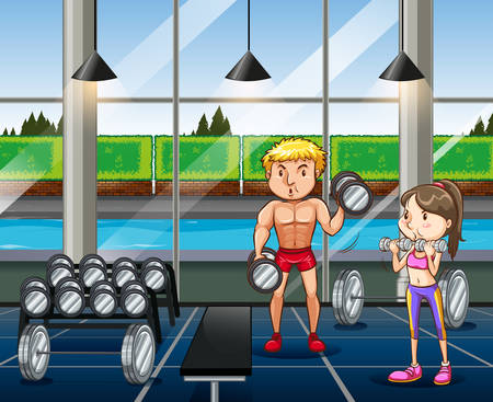 indoor sport: Man and woman working out in the gym illustration
