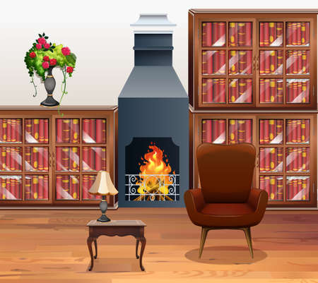 livingroom: Living room with fireplace in center illustration Illustration