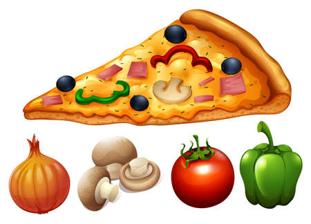 pizza ingredients: Slice of pizza and ingredients illustration