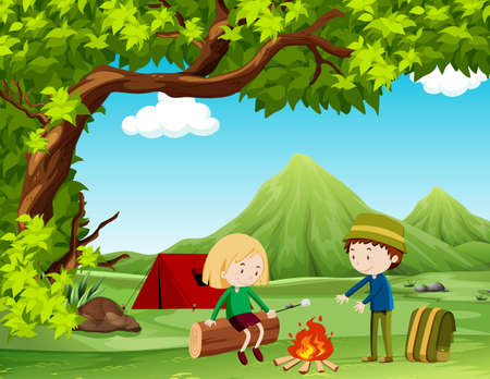 campground: Boy and girl camping out in the field illustration