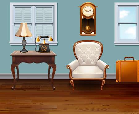 telefono caricatura: Habitación llena de muebles de ilustración de la vendimia