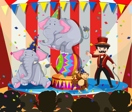 cartoon carnival: Animal show at the circus illustration