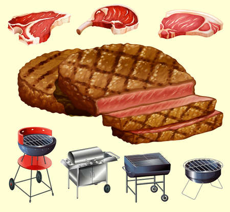 barbecue stove: Different kind of meat and grill equipment illustration