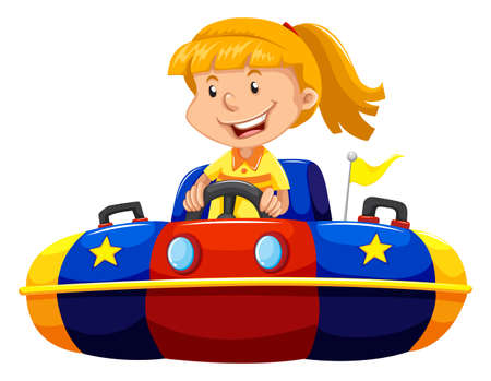 bump: Little girl riding in bump car illustration Illustration