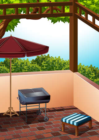 balcony: Barbecue area at the terrace illustration