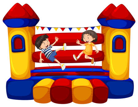 bouncing: Boy and girl bouncing on the funhouse illustration Illustration